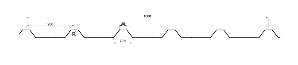 Perfila cotado GP-32/200, para vallas de obra.